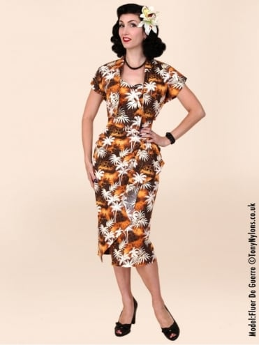40s-1940s-Vivien-of-Holloway-Best-Vintage-Reproduction-Sarong-Bolero-Set-Tantiki-Brown-Tropical-Hollywood-Starlet-Pinup