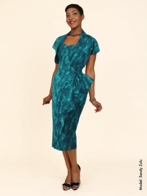 Sarong Teal Golden Flowers