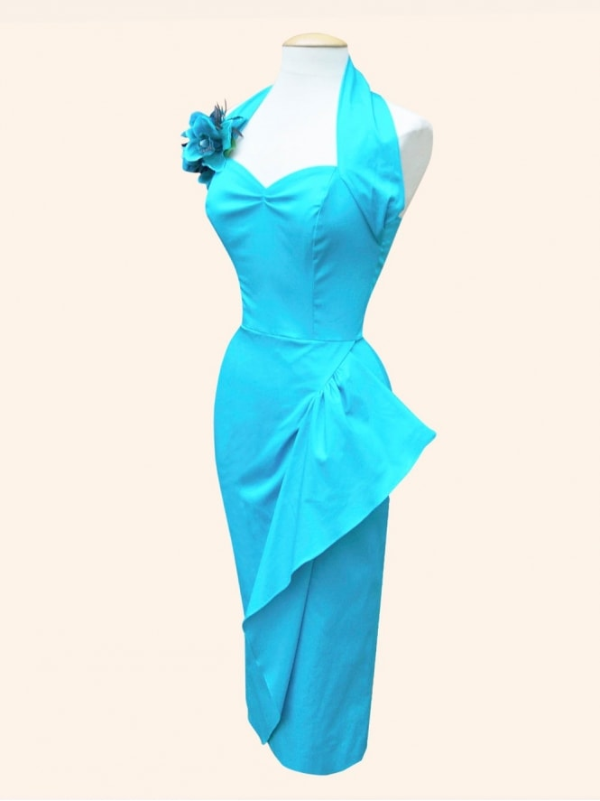 40s-1940s-Vivien-of-Holloway-Best-Vintage-Reproduction-Sarong-Bolero-Set-Turquoise-Cotton-Sateen-Hollywood-Starlet-Pinup