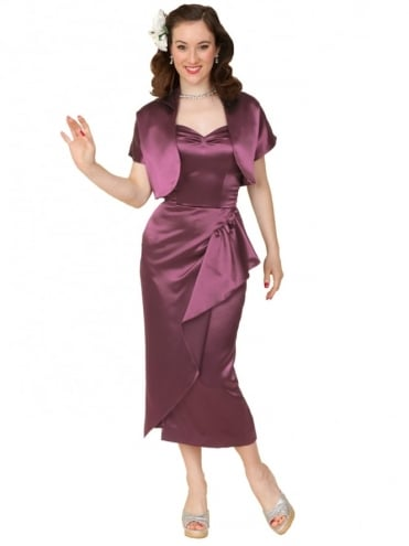 40s-1940s-Vivien-of-Holloway-Best-Vintage-Reproduction-Sarong-Bolero-Set-Violet-Purple-Satin-Hollywood-Starlet-Pinup