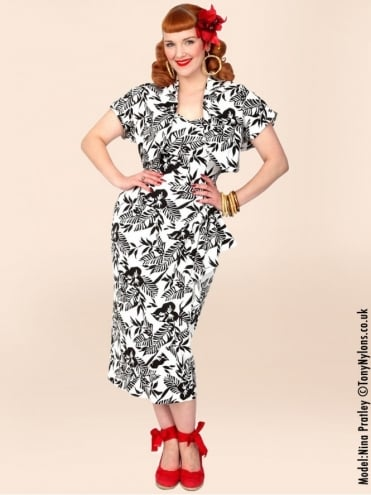 40s-1940s-Vivien-of-Holloway-Best-Vintage-Reproduction-Sarong-Bolero-Set-Black-White-Leaf-Floral-Linen-Hollywood-Starlet-Pinup