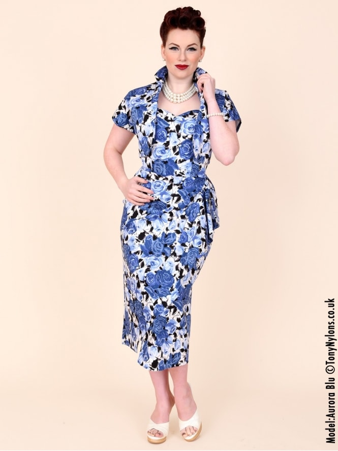 40s-1940s-Vivien-of-Holloway-Best-Vintage-Reproduction-Sarong-Bolero-Set-Royal-Blue-Wild-Rose-Floral-Hollywood-Starlet-Pinup