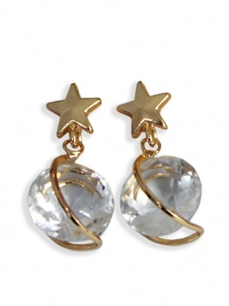 Shooting star Diamante Earrings - Gold