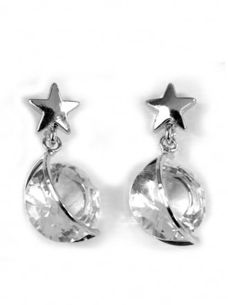 Shooting star Diamante Earrings - Silver