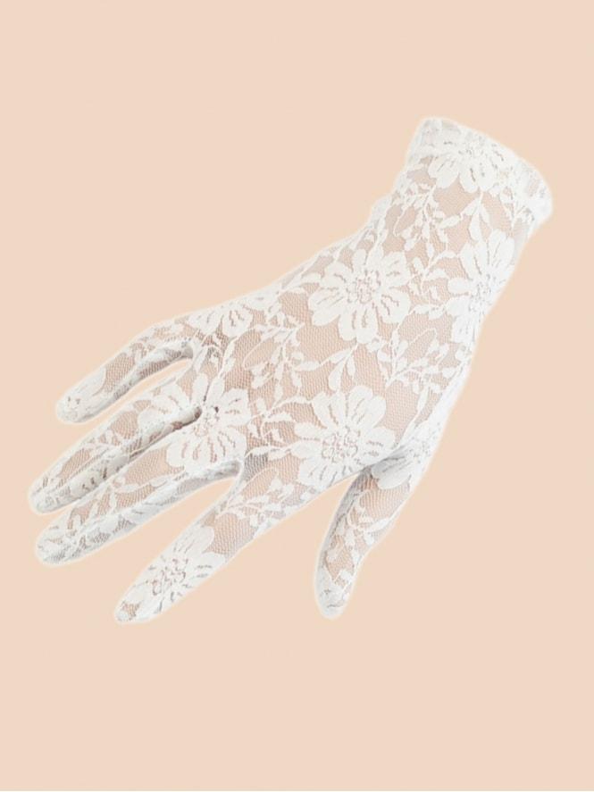 Short Gloves White Lace