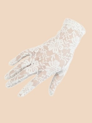 Short Gloves White Lace