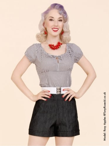40s-50s-1940s-1950s-Vivien-of-Holloway-Best-Vintage-Style-Reproduction-Repro-Shorts-Black-Denim-Swing-Pinup-Rockabilly-Western