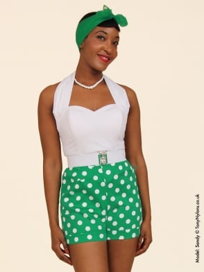 Shorts Green Polka