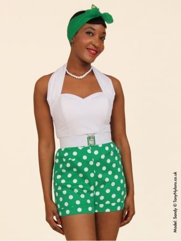 40s-50s-1940s-1950s-Vivien-of-Holloway-Best-Vintage-Style-Reproduction-Repro-Shorts-Green-Polka-Polkadot-Spot-Swing-Pinup-Rockabilly