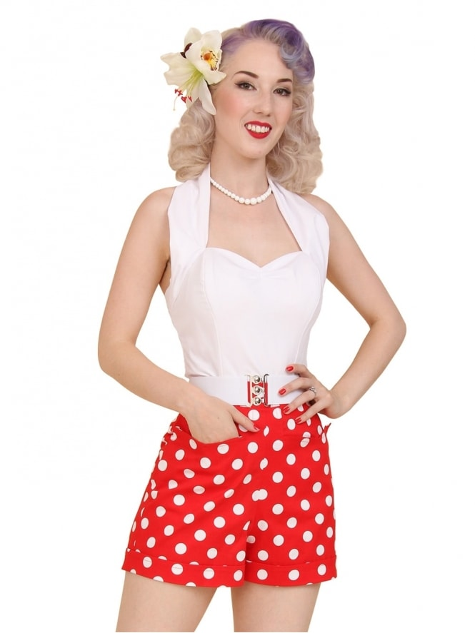 40s-50s-1940s-1950s-Vivien-of-Holloway-Best-Vintage-Style-Reproduction-Repro-Shorts-Red-Polka-Polkadot-Spot-Swing-Pinup-Rockabilly