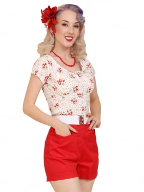 Shorts Red Sateen