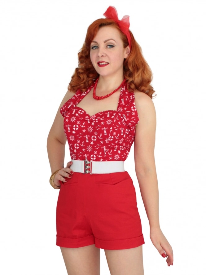 40s-50s-1940s-1950s-Vivien-of-Holloway-Best-Vintage-Style-Reproduction-Repro-Shorts-Red-Sateen-Cotton-Swing-Pinup-Rockabilly