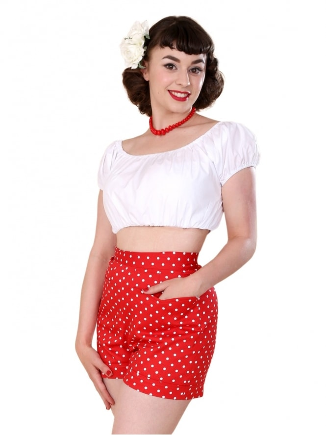 40s-50s-1940s-1950s-Vivien-of-Holloway-Best-Vintage-Style-Reproduction-Repro-Shorts-Red-White-Spot-Swing-Pinup-Rockabilly
