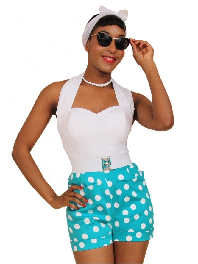 40s-50s-1940s-1950s-Vivien-of-Holloway-Best-Vintage-Style-Reproduction-Repro-Shorts-Turquoise-Polka-Polkadot-Dot-Spot-Swing-Pinup-Rockabilly