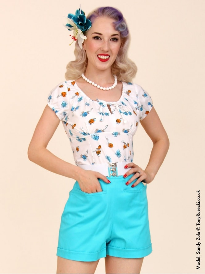 40s-50s-1940s-1950s-Vivien-of-Holloway-Best-Vintage-Style-Reproduction-Repro-Shorts-Turquoise-Sateen-Blue-Green-Cotton-Swing-Pinup-Rockabilly