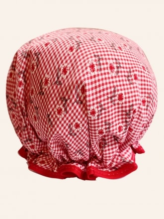 50s-1950s-Vivien-of-Holloway-Best-Vintage-Reproduction-Red-Gingham-floral-Shower-Cap-Rockabilly-Swing-Pinup