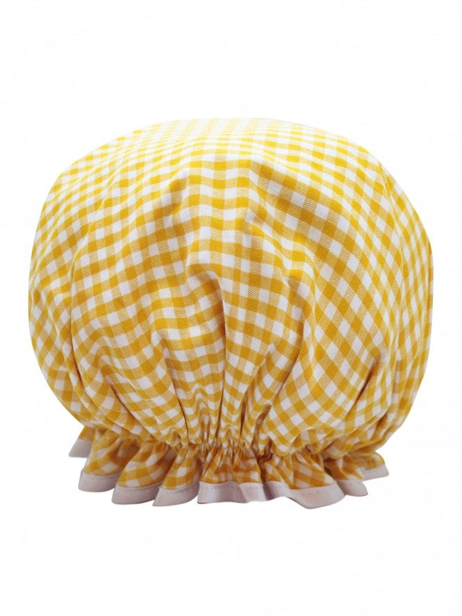 Shower Cap Gingham Yellow