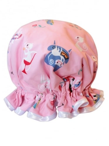 Shower Cap Kitten Pink