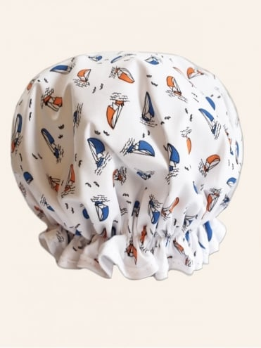 Shower Cap Sailboat White