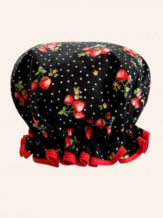 50s-1950s-Vivien-of-Holloway-Best-Vintage-Reproduction-Strawberry-Dot-Black-Shower-Cap-Rockabilly-Swing-Pinup