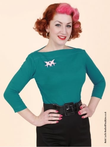 50s-1950s-Vivien-of-Holloway-Best-Vintage-Style-Reproduction-Repro-Slash-Neck-Top-Aqua-Green-Jersey-Rockabilly-Swing-Pinup