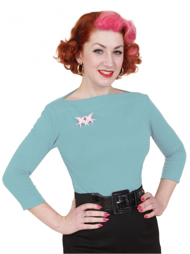 50s-1950s-Vivien-of-Holloway-Best-Vintage-Style-Reproduction-Repro-Slash-Neck-Top-Baby-Blue-Rockabilly-Swing-Pinup