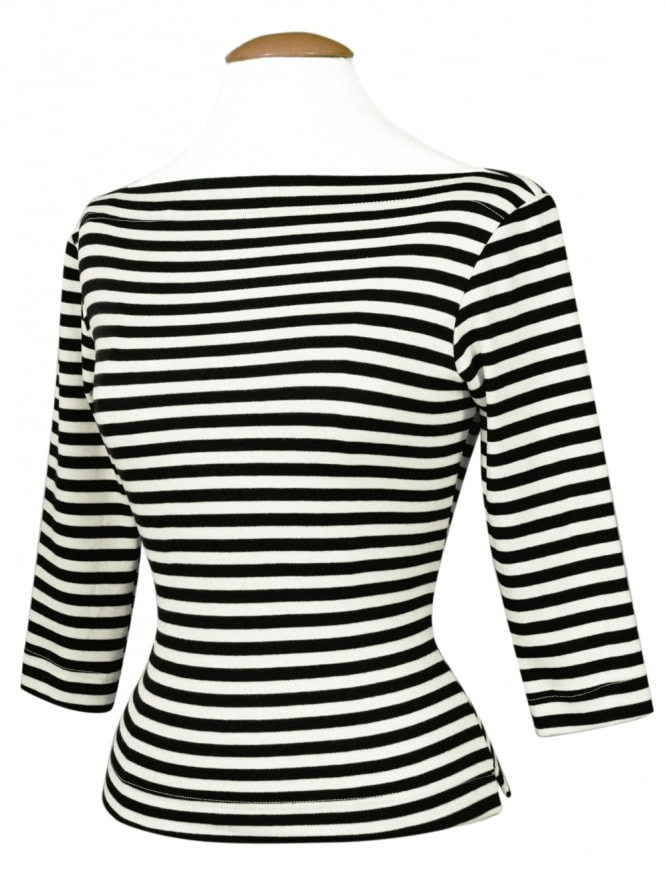 Slash Neck Top Black Stripe