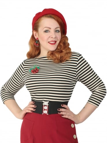 50s-1950s-Vivien-of-Holloway-Best-Vintage-Style-Reproduction-Repro-Slash-Neck-Top-Black-Stripe-Rockabilly-Swing-Pinup