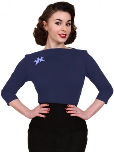 50s-1950s-Vivien-of-Holloway-Best-Vintage-Style-Reproduction-Repro-Slash-Neck-Top-Blueberry-Rockabilly-Swing-Pinup