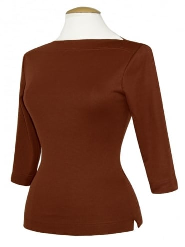 Slash Neck Top Brown