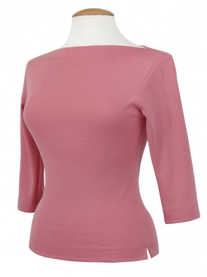 Slash Neck Top Dusky Pink