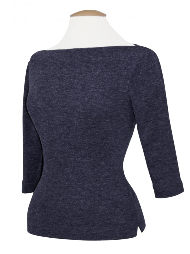 Slash Neck Top Fluff Navy