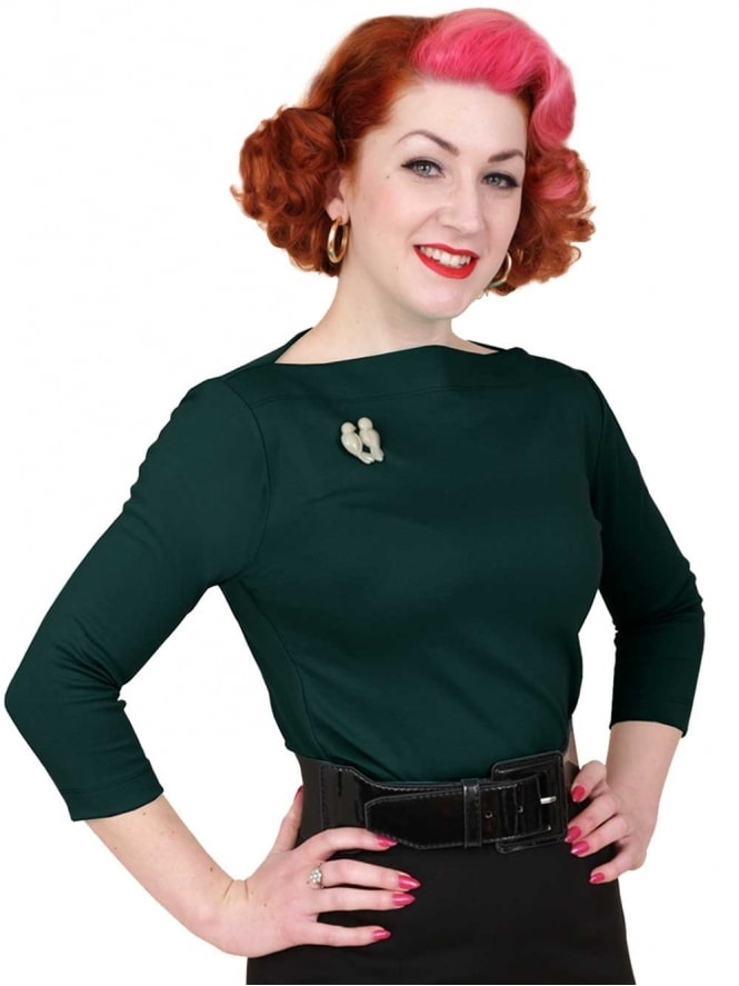 50s-1950s-Vivien-of-Holloway-Best-Vintage-Style-Reproduction-Repro-Slash-Neck-Top-Forest-Green-Rockabilly-Swing-Pinup