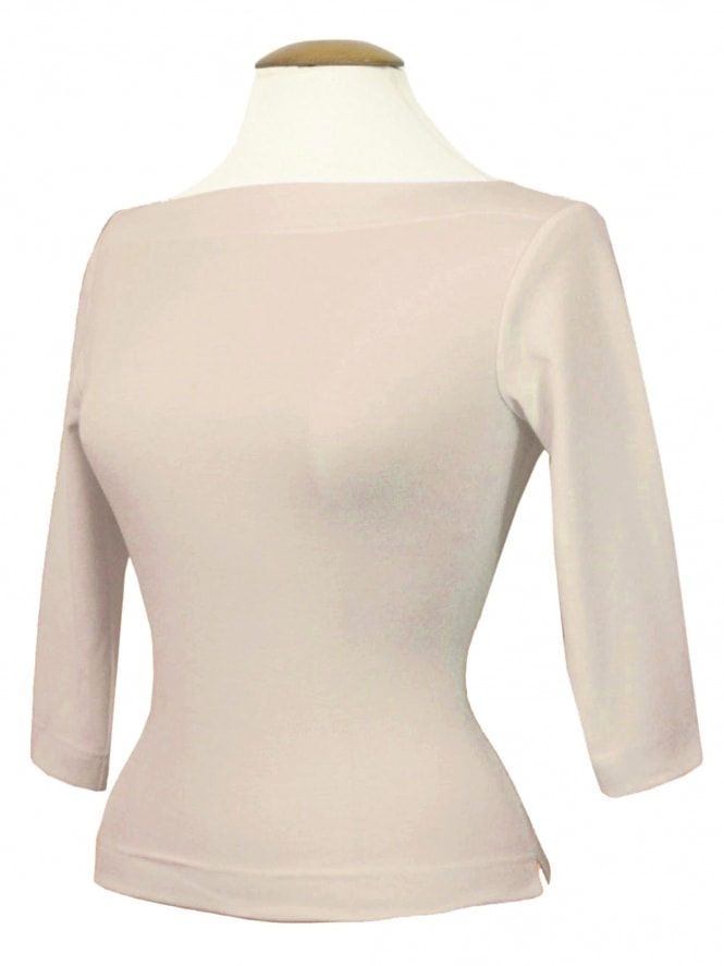 Slash Neck Top Light Cream