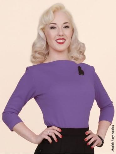 Slash Neck Top Lilac Jersey