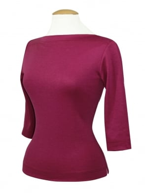 Slash Neck Top Magenta