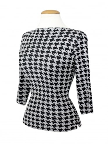 Slash Neck Top Medium Dogtooth