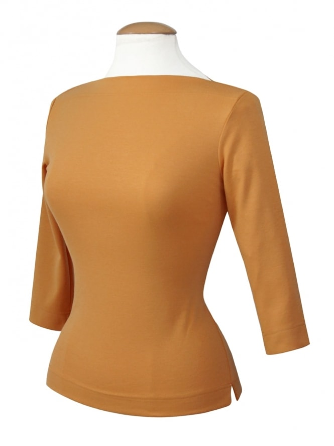 50s-1950s-Vivien-of-Holloway-Best-Vintage-Style-Reproduction-Repro-Slash-Neck-Top-Mustard-Rockabilly-Swing-Pinup