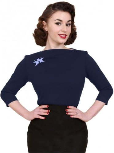 Slash Neck Top Navy Jersey