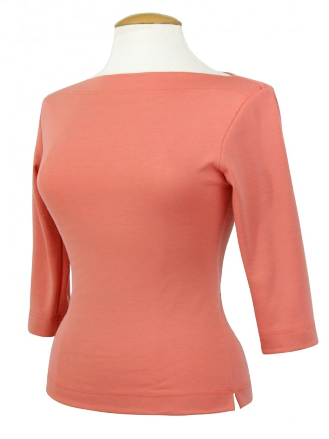 Slash Neck Top Pink Blush Jersey