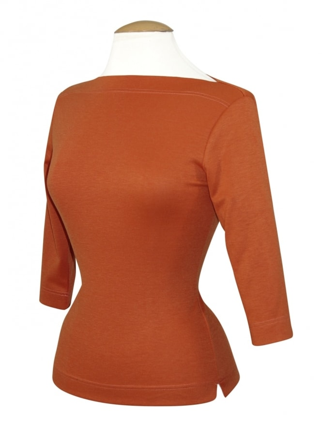 50s-1950s-Vivien-of-Holloway-Best-Vintage-Style-Reproduction-Repro-Slash-Neck-Top-Pumpkin-Rockabilly-Swing-Pinup