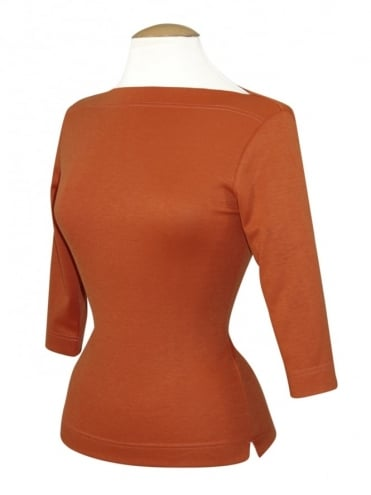 50s-1950s-Vivien-of-Holloway-Best-Vintage-Style-Reproduction-Repro-Slash-Neck-Top-Pumpkin-Rockabilly-Swing-Pinup