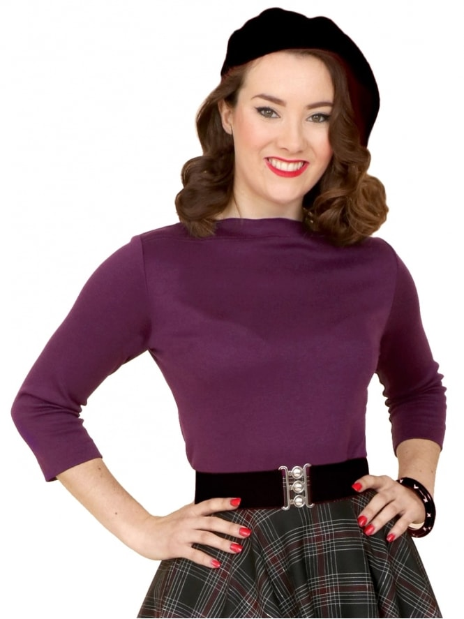 50s-1950s-Vivien-of-Holloway-Best-Vintage-Style-Reproduction-Repro-Slash-Neck-Top-Purple-Jersey-Rockabilly-Swing-Pinup