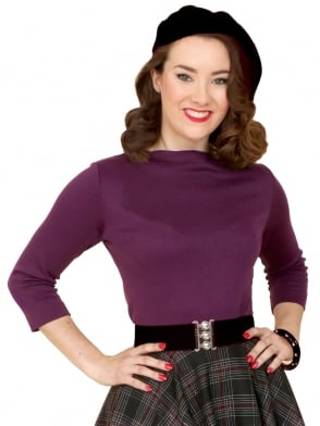 Slash Neck Top Purple Jersey