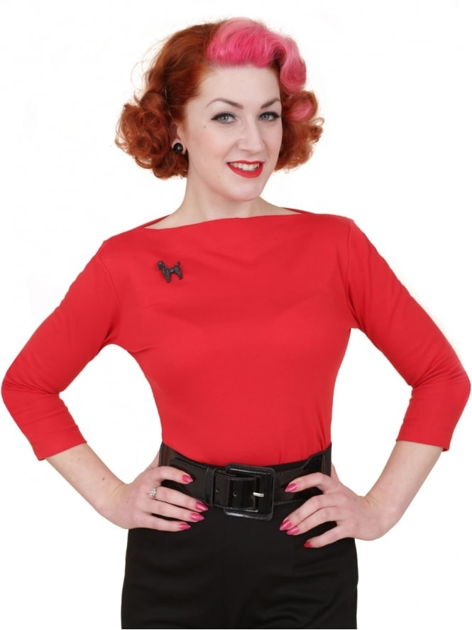 50s-1950s-Vivien-of-Holloway-Best-Vintage-Style-Reproduction-Repro-Slash-Neck-Top-Red-Jersey-Rockabilly-Swing-Pinup