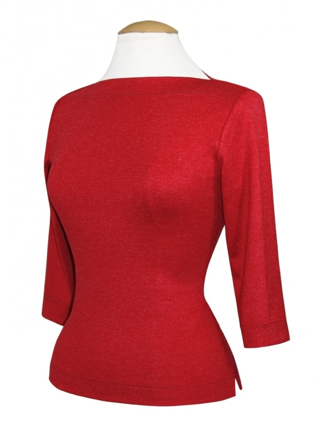 Slash Neck Top Rouge