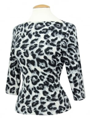 Slash Neck Top Silver Leopard