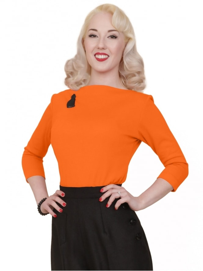 50s-1950s-Vivien-of-Holloway-Best-Vintage-Style-Reproduction-Repro-Slash-Neck-Top-Tangerine-Rockabilly-Swing-Pinup