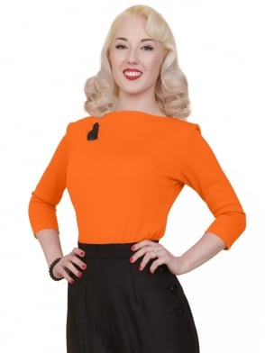 Slash Neck Top Tangerine