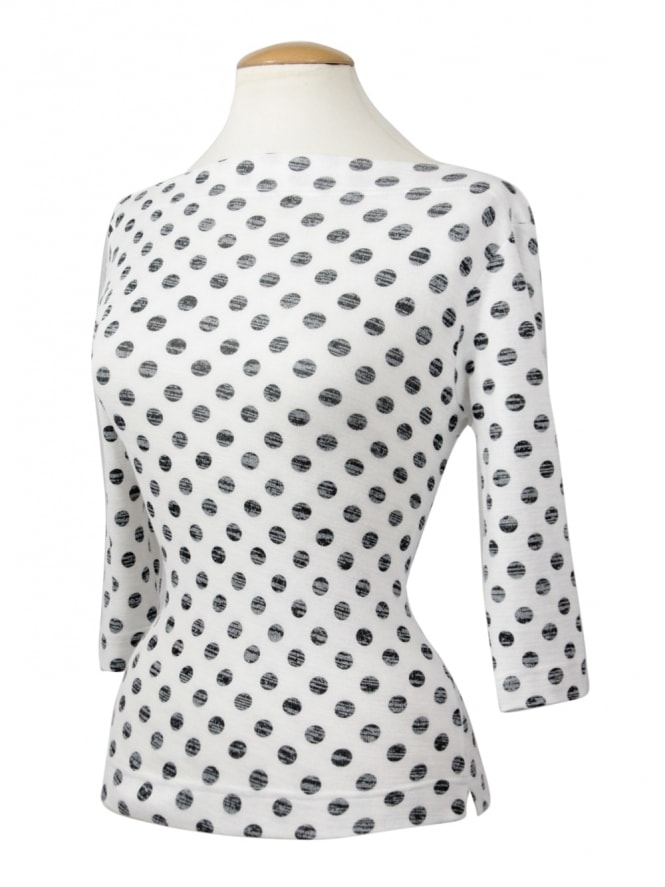 50s-1950s-Vivien-of-Holloway-Best-Vintage-Style-Reproduction-Repro-Slash-Neck-Top-White-Black-Polka-Rockabilly-Swing-Pinup